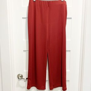 H by Halston Burgundy Wide Leg Pants Side Zip